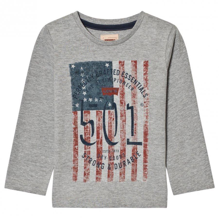 Levis Kids Grey Marl 501 Flag Print Long Sleeve Tee Pitkähihainen T-Paita