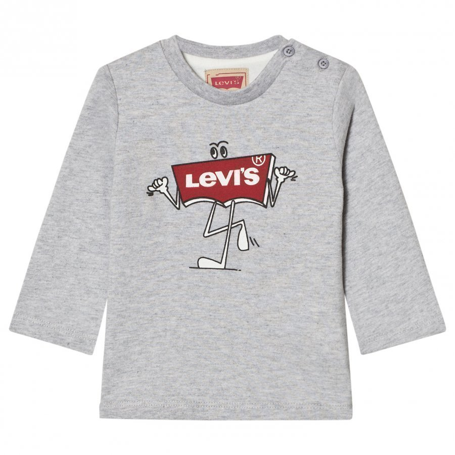 Levis Kids Grey Marl Branded Logo Long Sleeve Tee Pitkähihainen T-Paita