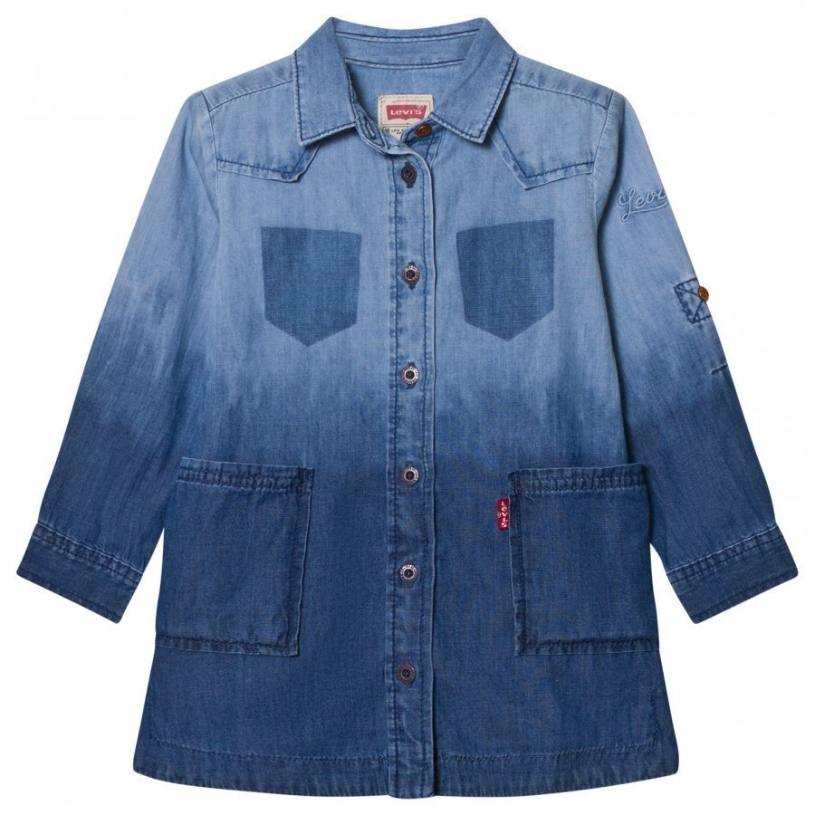Levis Kids Mid And Light Wash Dip Dyed Denim Dress Mekko