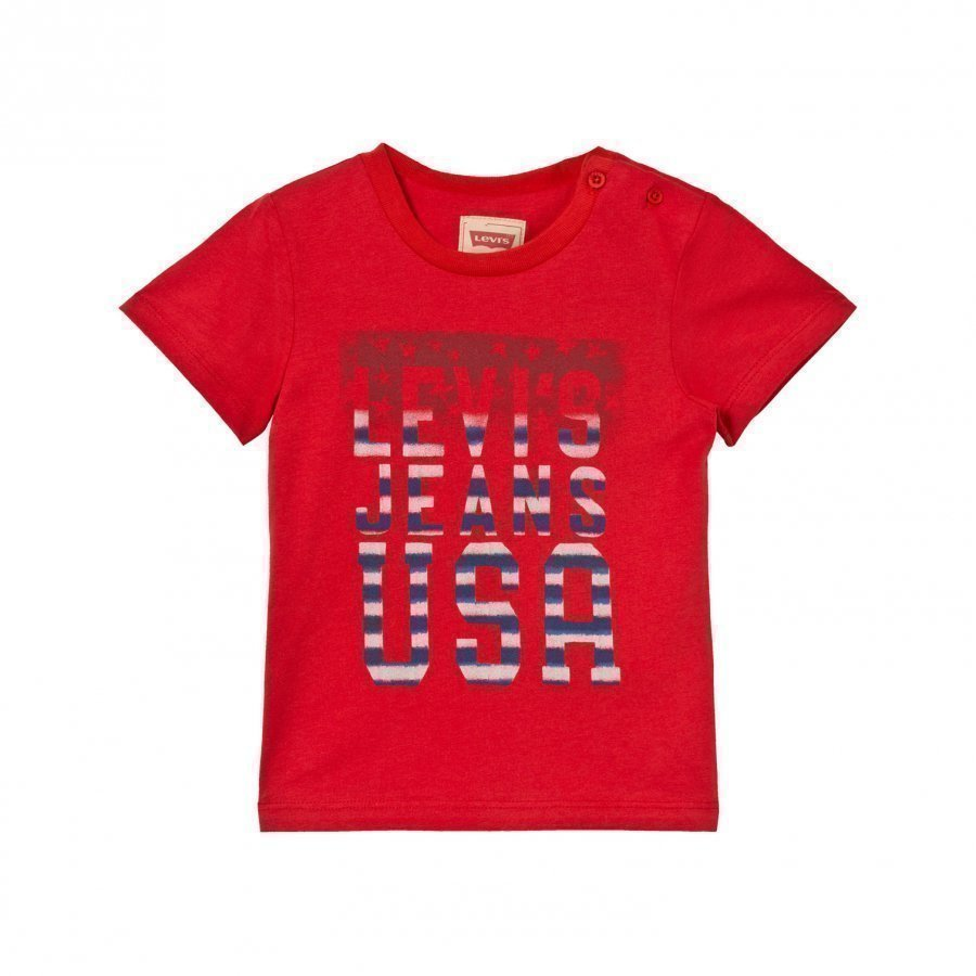 Levis Kids Red Usa Logo Print Tee T-Paita