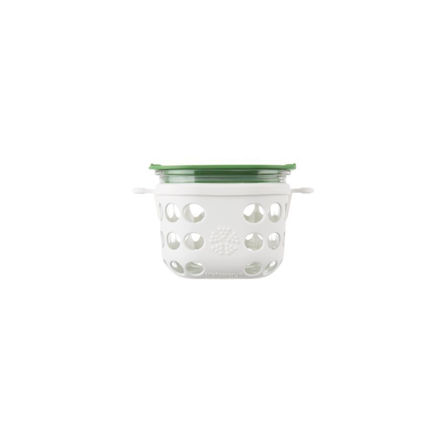 Lifefactory Lasinen Eväsrasia 475 Ml Optic White / Grass Green