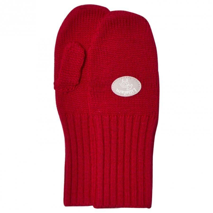 Lillelam Basic Wool Mittens Red Villalapaset