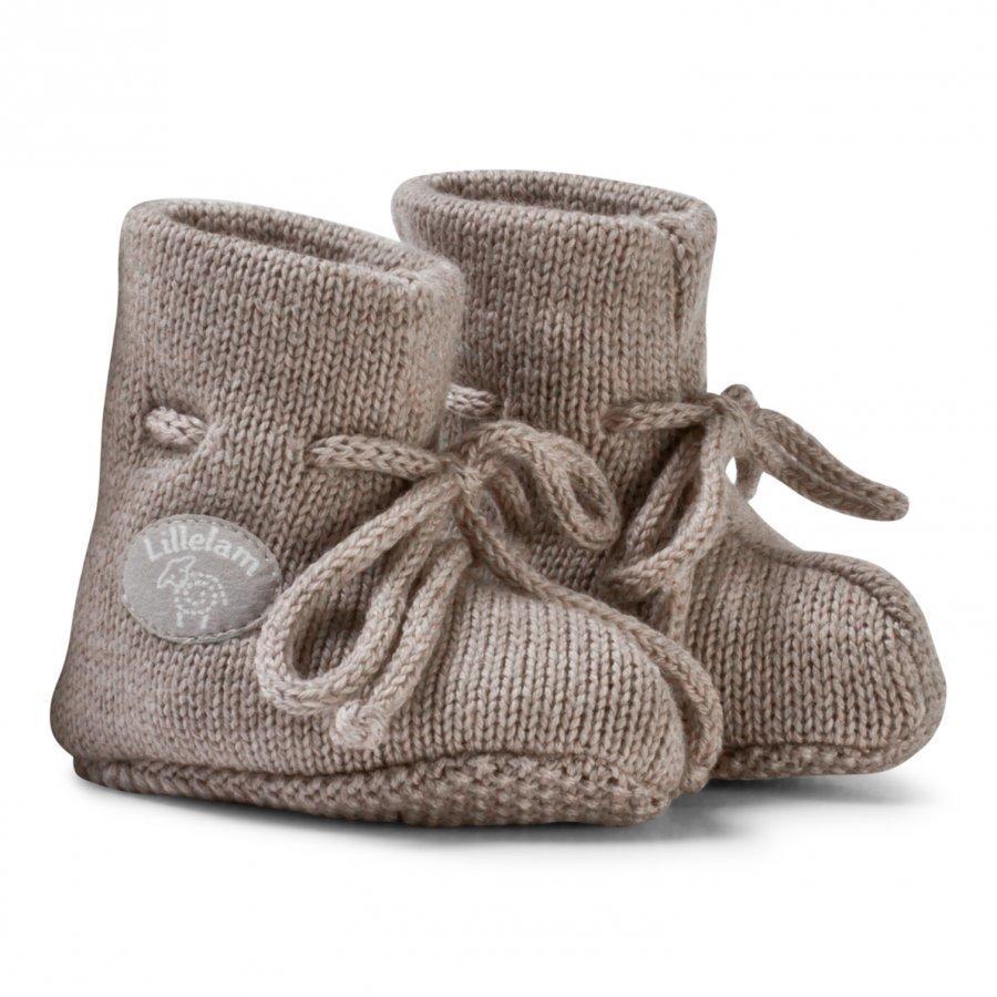 Lillelam Merino Wool Baby Slippers Basic Beige Korkeavartiset Tossut