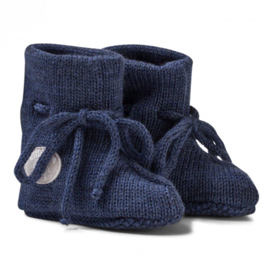 Lillelam Merino Wool Baby Slippers Basic Blue Korkeavartiset Tossut
