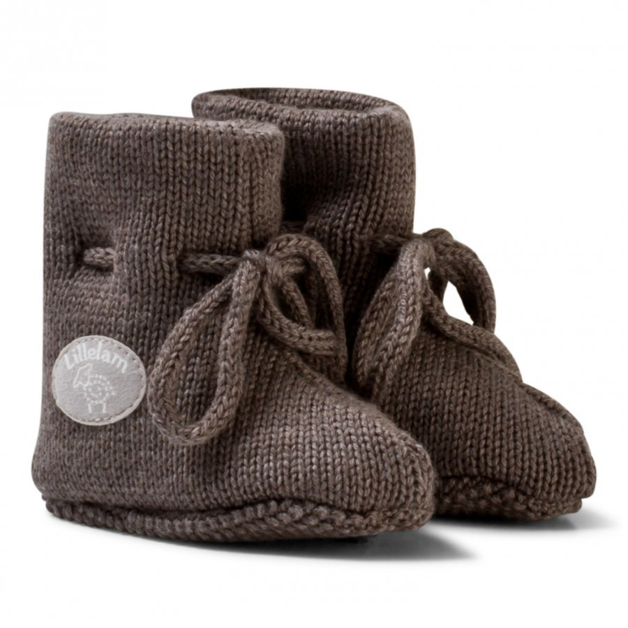 Lillelam Merino Wool Baby Slippers Basic Brown Korkeavartiset Tossut