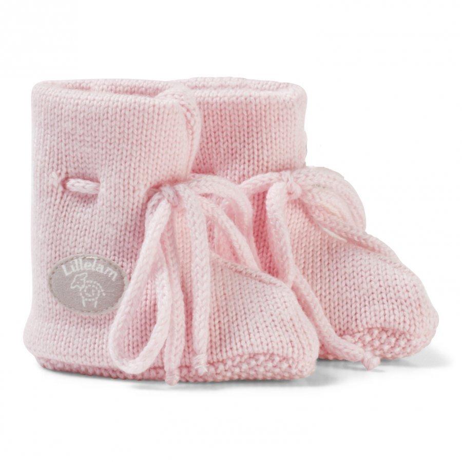 Lillelam Merino Wool Baby Slippers Basic Pink Korkeavartiset Tossut