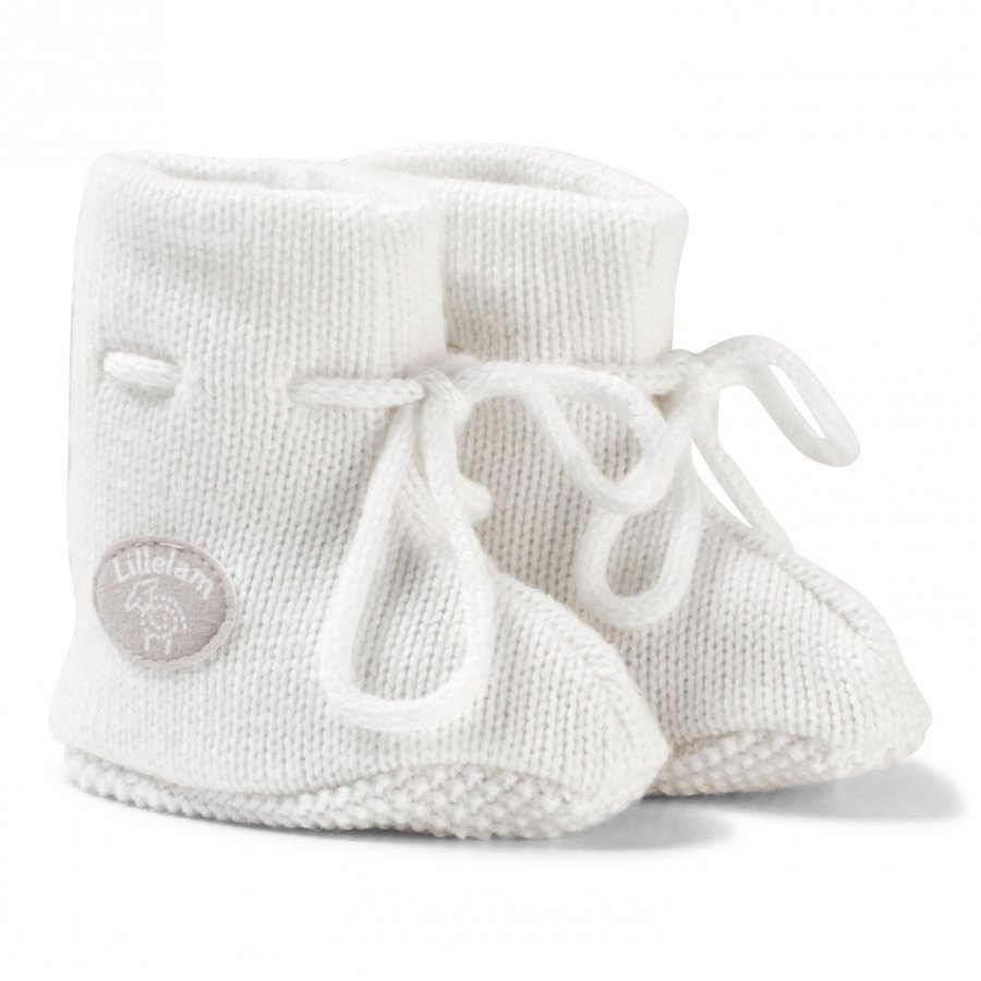Lillelam Merino Wool Baby Slippers Basic White Korkeavartiset Tossut