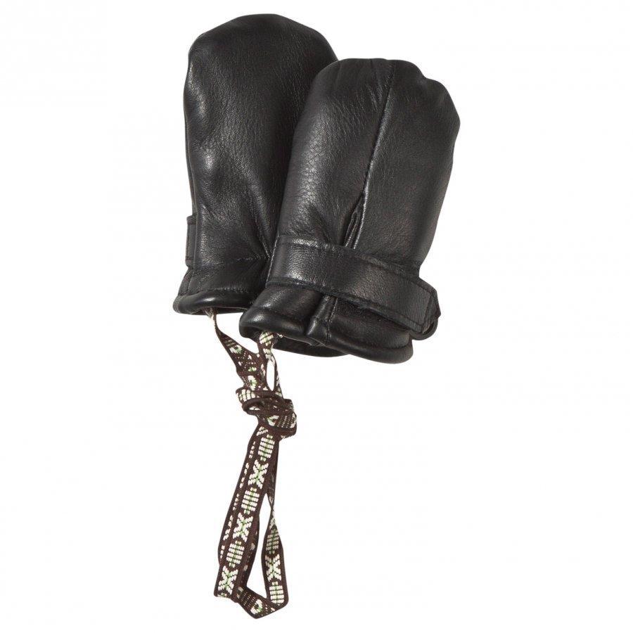 Lindberg Classic Leather Mini Mitten Wool Black Villalapaset