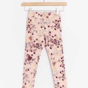 Lindex Kukkakuvioiset Jeggingsit Vaaleanpunainen