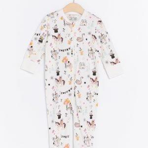 Lindex Kuvioitu Pyjama Valkoinen
