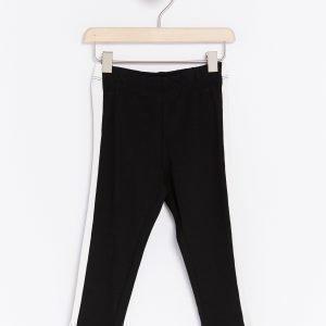 Lindex Mustavalkoiset Leggingsit Musta