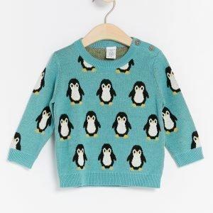 Lindex Pingviinikuvioinen Neulepusero Turkoosi