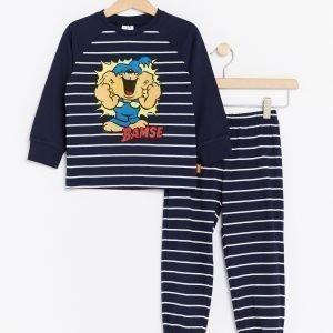 Lindex Pyjama Bamse Painatuksella Sininen