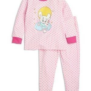 Lindex Pyjama Bamse Painatuksella Vaaleanpunainen