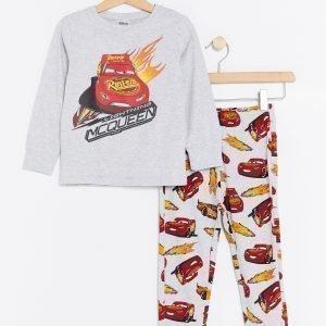 Lindex Pyjama Jossa Autot Painatus Harmaa