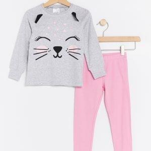 Lindex Pyjama Jossa Kissapainatus Harmaa