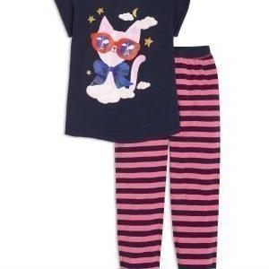Lindex Pyjama Jossa Kissapainatus Sininen