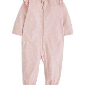 Lindex Pyjama Jossa Painatus Ja Röyhelöt Vaaleanpunainen
