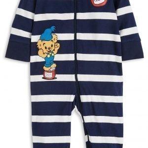 Lindex Raidallinen Bamse Pyjama Sininen