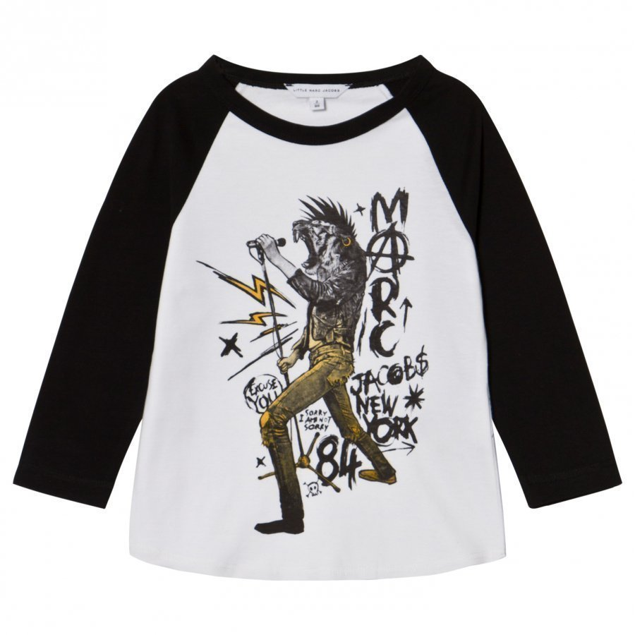 Little Marc Jacobs Black And White Animal Rocker Print Tee T-Paita
