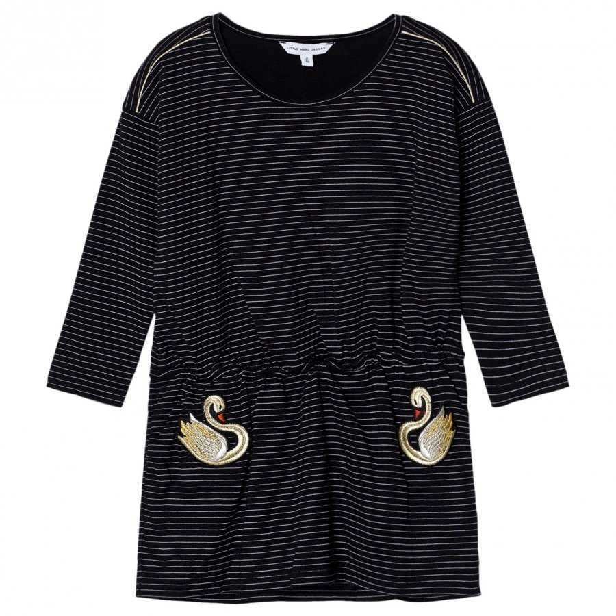 Little Marc Jacobs Black And White Stripe Swan Embroidered Jersey Dress Juhlamekko