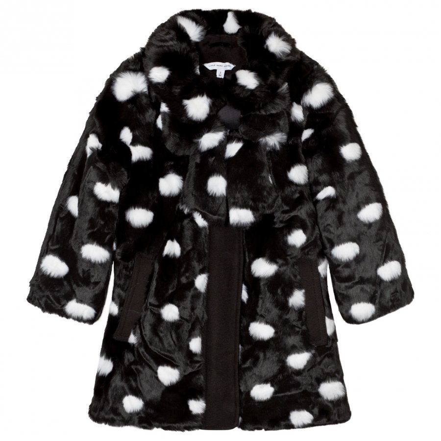 Little Marc Jacobs Black White Spot Faux Fur Bow Coat Turkis