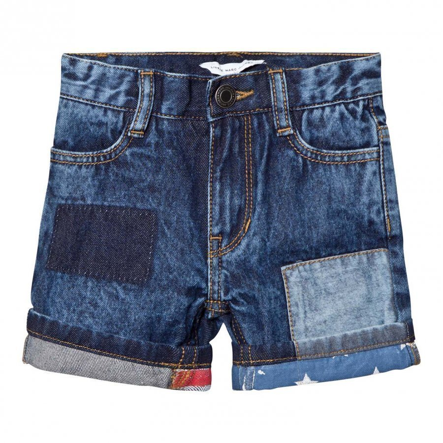Little Marc Jacobs Blue American Flag Turn Up Denim Shorts Farkkushortsit