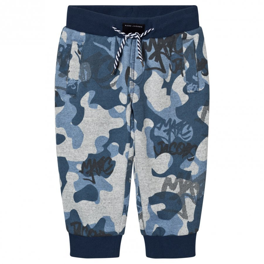 Little Marc Jacobs Blue And Grey Branded Camo Sweat Pants Verryttelyhousut