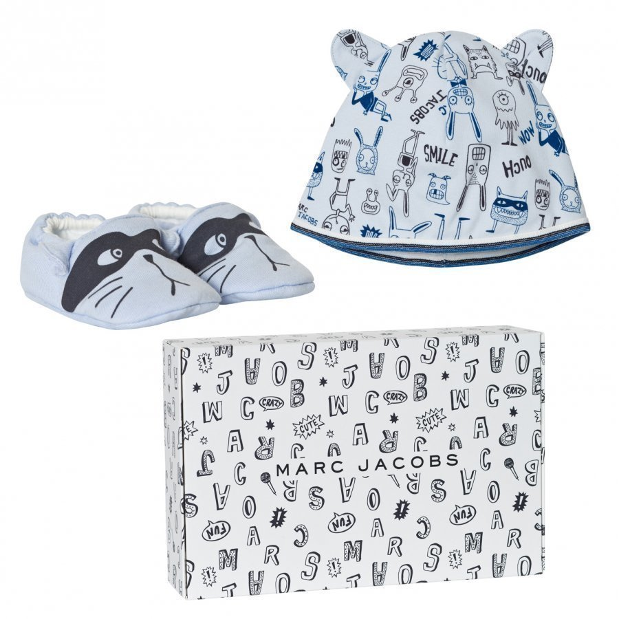 Little Marc Jacobs Blue Animal Print Jersey Hat And Booties Set In Gift Box Lahjasetti