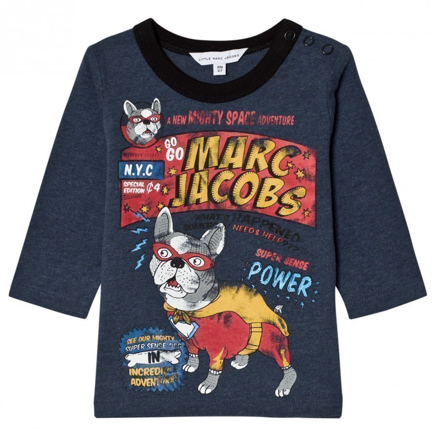 Little Marc Jacobs Blue French Bulldog Branded Print Tee T-Paita