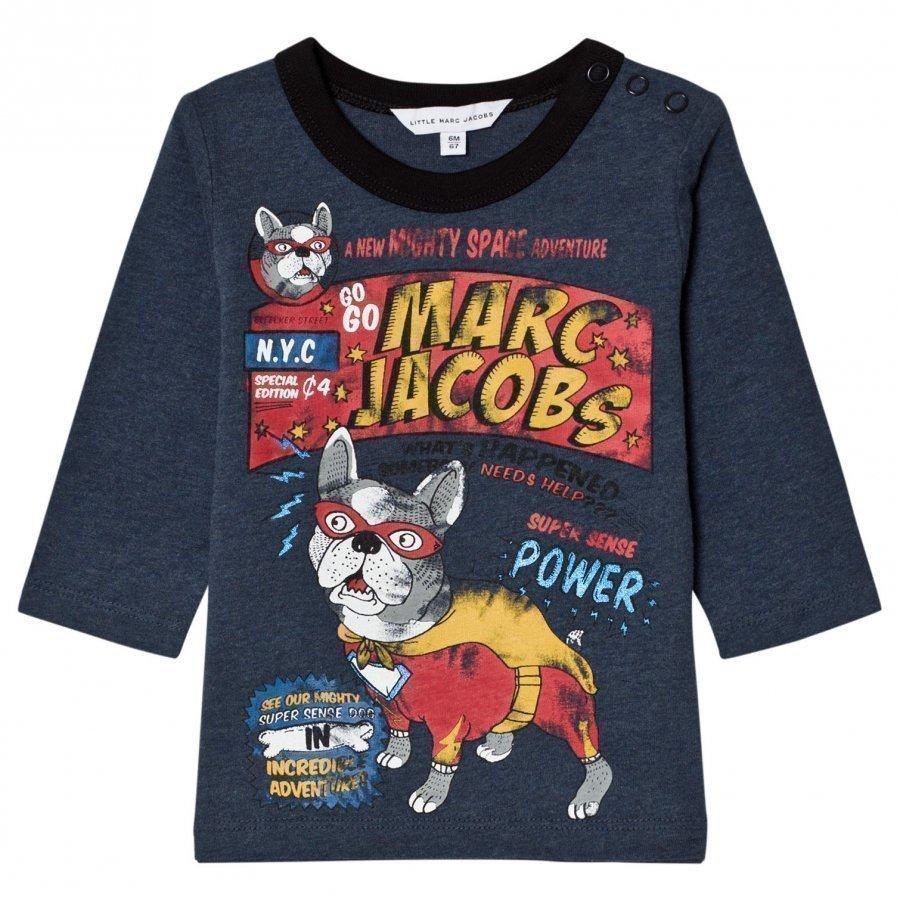 Little Marc Jacobs Blue French Bulldog Branded Print Tee T-Paita