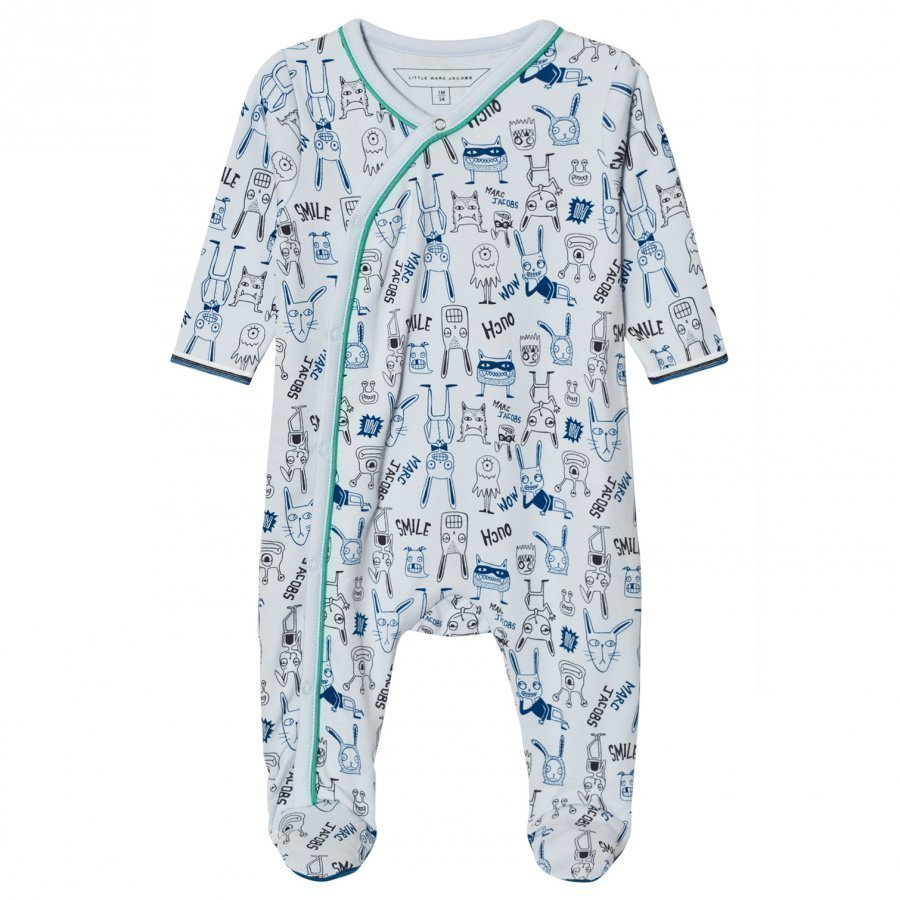 Little Marc Jacobs Footed Baby Body Animal Print Blue Body