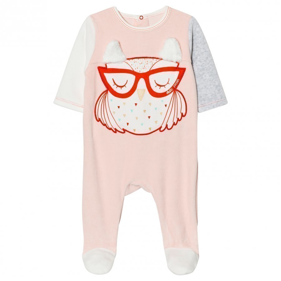 Little Marc Jacobs Footed Baby Body Owl Applique Pink Velour Body