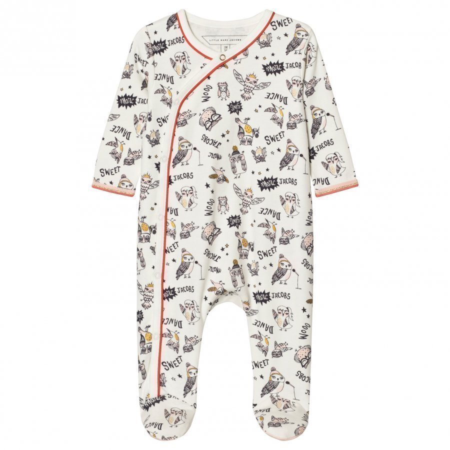 Little Marc Jacobs Footed Baby Body Owl Print Off White Body