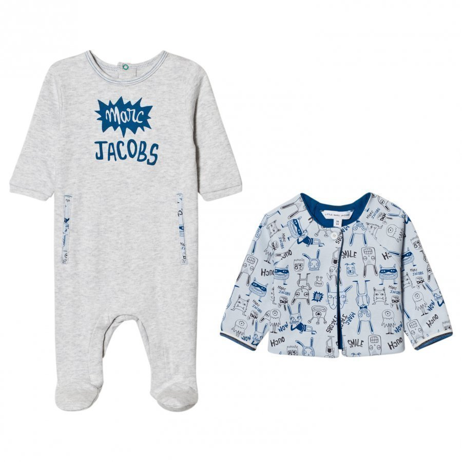 Little Marc Jacobs Footed Baby Body Pale Blue Jersey And Reversible Jacket Gift Box Body