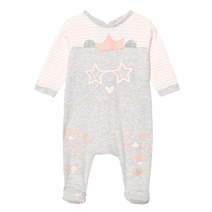 Little Marc Jacobs Grey And Pink Cat Print Footed Baby Body In Box Body