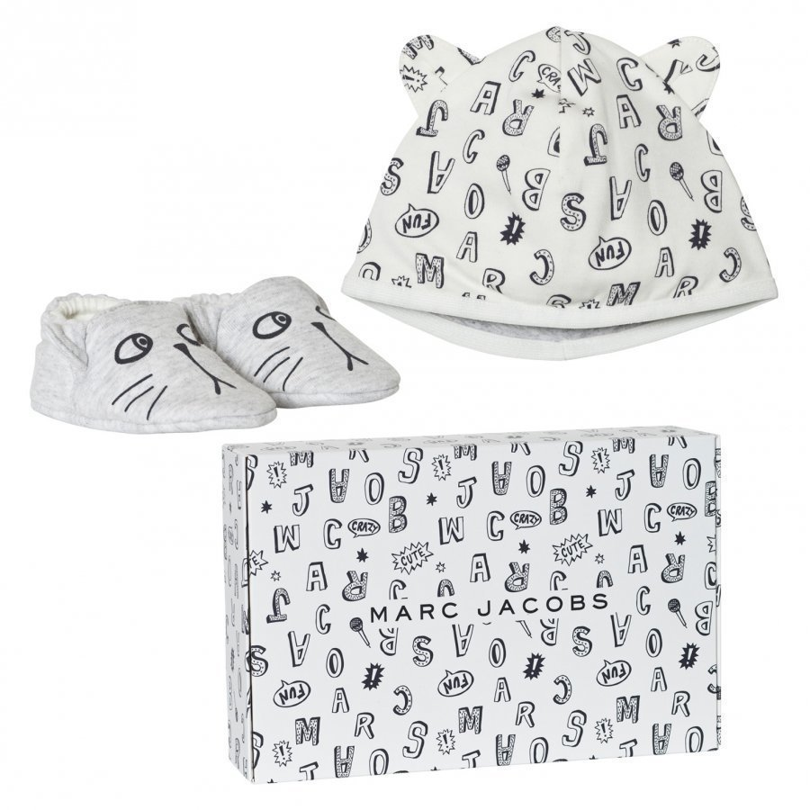 Little Marc Jacobs Grey Animal Print Jersey Hat And Booties Set In Gift Box Lahjasetti