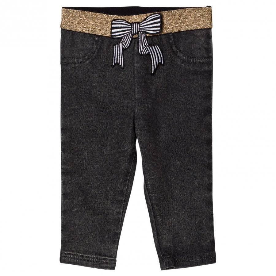Little Marc Jacobs Grey Jegging With Glitter Waistband And Bow Farkut