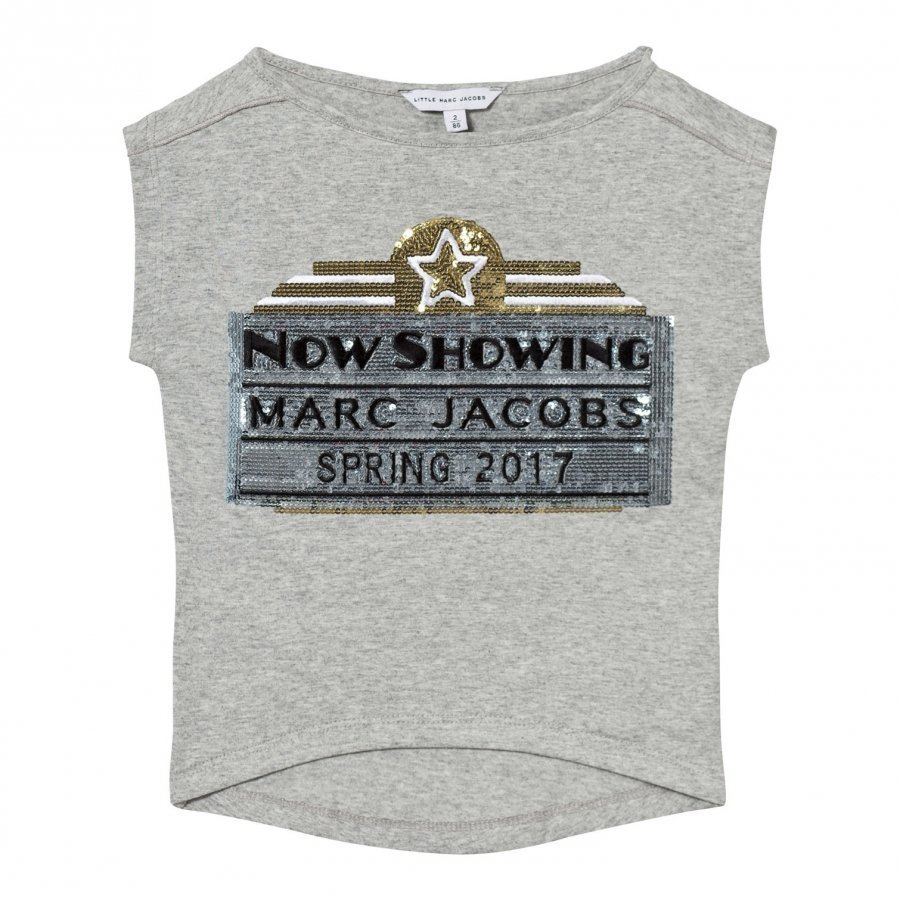 Little Marc Jacobs Grey Marc Jacobs Cinema Sequin Tee T-Paita