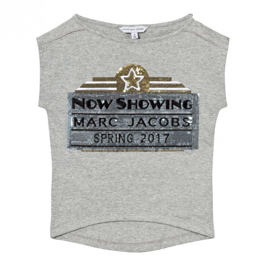 Little Marc Jacobs Grey Marc Jacobs Cinema Sequin Tee T-Paita