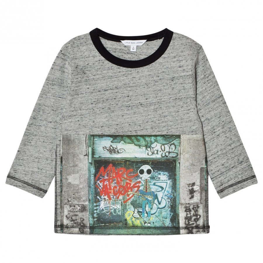 Little Marc Jacobs Grey Marl Mr Marc Graffiti Print Tee T-Paita