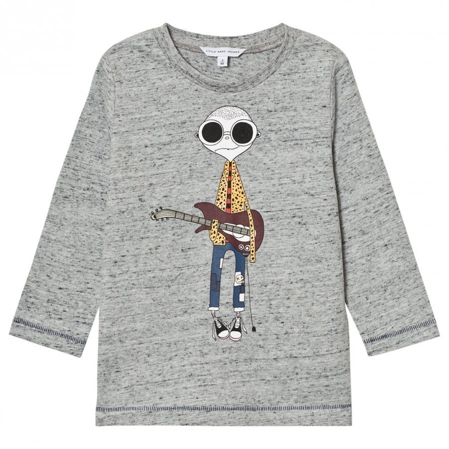 Little Marc Jacobs Grey Marl Mr Marc Guitar Print Tee T-Paita