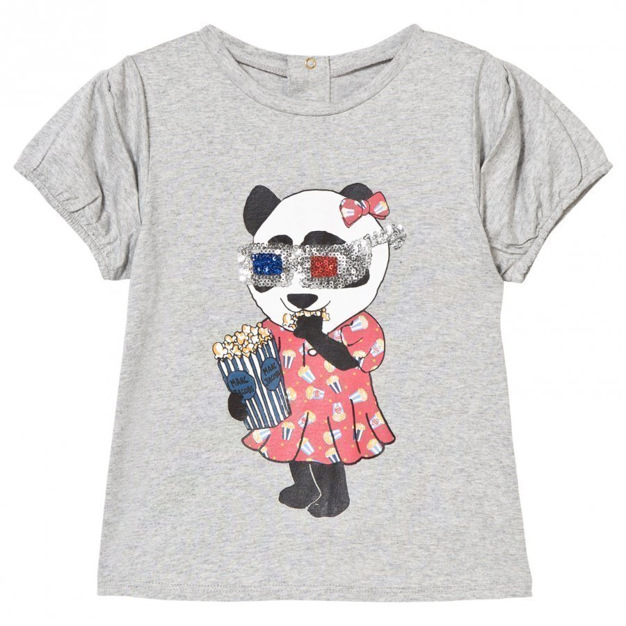 Little Marc Jacobs Grey Panda Eating Print Tee T-Paita