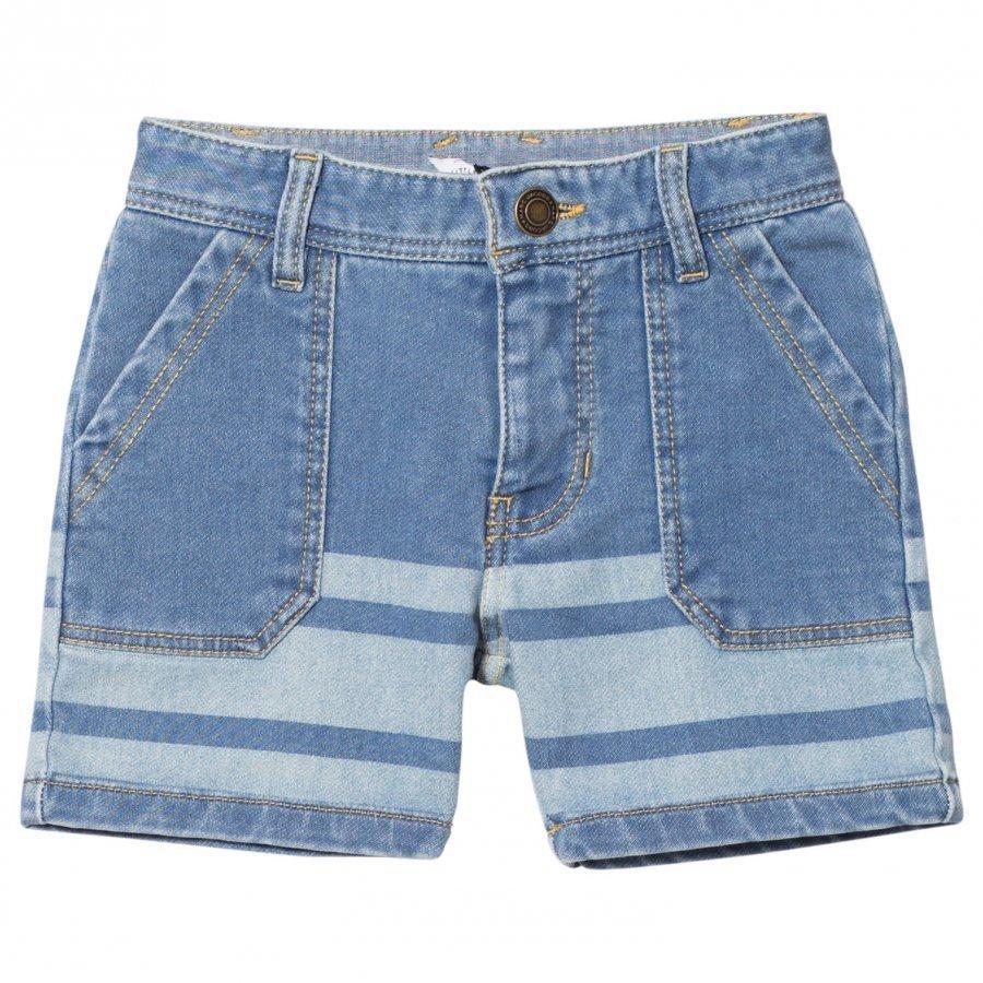 Little Marc Jacobs Light Wash Jersey Denim Stripe Shorts Farkkushortsit