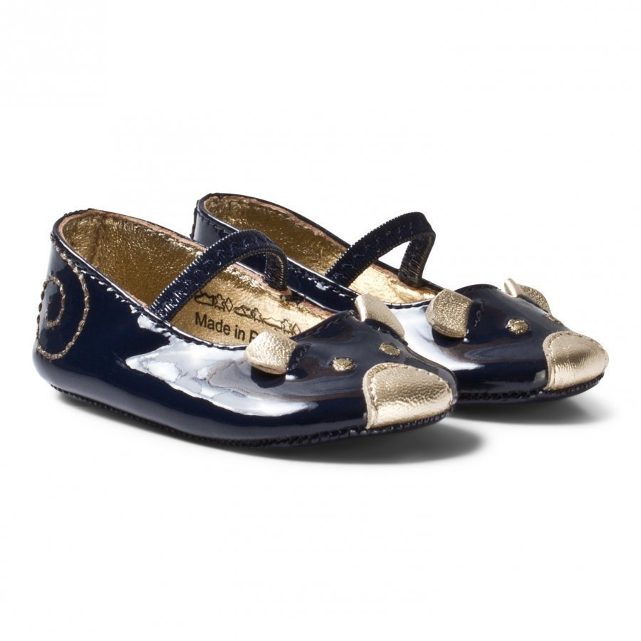 Little Marc Jacobs Navy And Gold Mouse Print Crib Shoes Vauvan Kengät