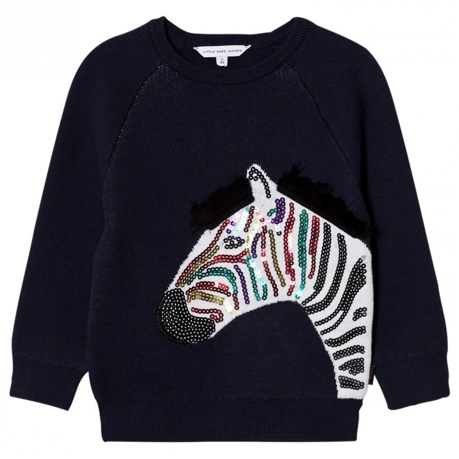 Little Marc Jacobs Navy Applique Sequin Zebra Sweatshirt Oloasun Paita