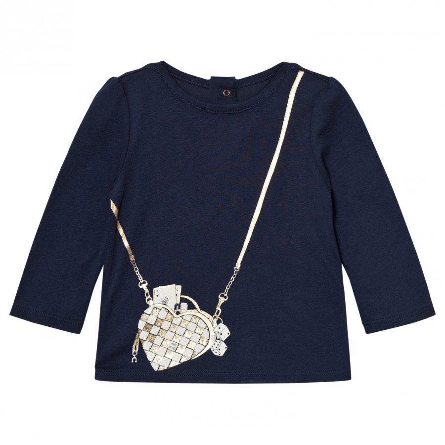 Little Marc Jacobs Navy Bag Print Long-Sleeve Tee T-Paita