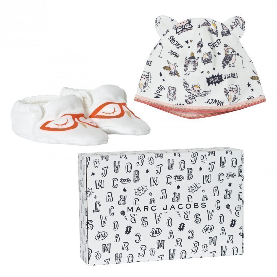 Little Marc Jacobs Off White Animal Print Jersey Hat And Booties Set In Gift Box Lahjasetti
