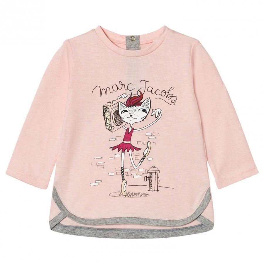 Little Marc Jacobs Pale Pink Cat Ballerina Print Tee T-Paita