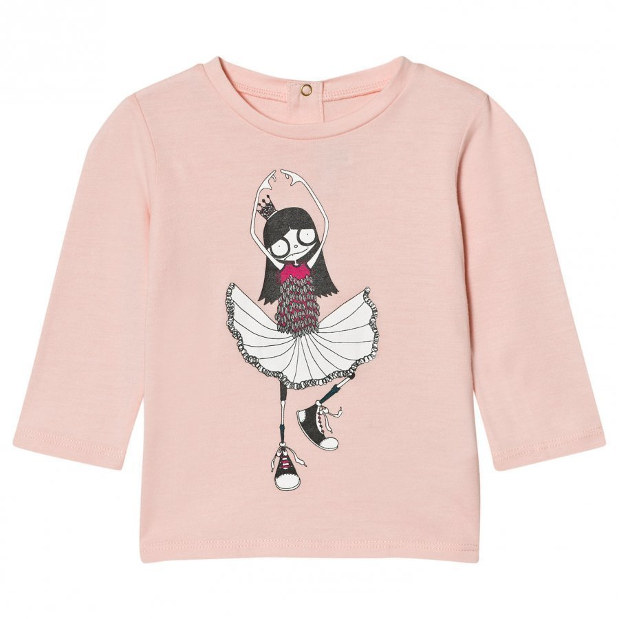 Little Marc Jacobs Pale Pink Miss Marc Ballerina Print Tee T-Paita